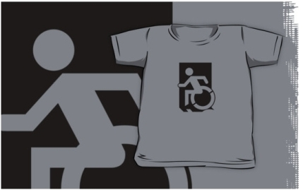 Accessible Means of Egress Icon Exit Sign Wheelchair Wheelie Running Man Symbol by Lee Wilson PWD Disability Emergency Evacuation Kids T-shirts 152