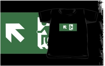 Accessible Means of Egress Icon Exit Sign Wheelchair Wheelie Running Man Symbol by Lee Wilson PWD Disability Emergency Evacuation Kids T-shirts 153