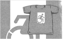 Accessible Means of Egress Icon Exit Sign Wheelchair Wheelie Running Man Symbol by Lee Wilson PWD Disability Emergency Evacuation Kids T-shirts 154