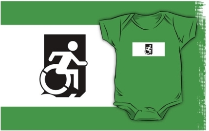 Accessible Means of Egress Icon Exit Sign Wheelchair Wheelie Running Man Symbol by Lee Wilson PWD Disability Emergency Evacuation Kids T-shirts 155