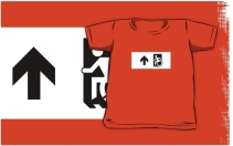Accessible Means of Egress Icon Exit Sign Wheelchair Wheelie Running Man Symbol by Lee Wilson PWD Disability Emergency Evacuation Kids T-shirts 156