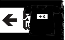 Accessible Means of Egress Icon Exit Sign Wheelchair Wheelie Running Man Symbol by Lee Wilson PWD Disability Emergency Evacuation Kids T-shirts 157