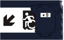 Accessible Means of Egress Icon Exit Sign Wheelchair Wheelie Running Man Symbol by Lee Wilson PWD Disability Emergency Evacuation Kids T-shirts 159