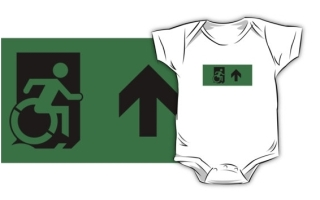 Accessible Means of Egress Icon Exit Sign Wheelchair Wheelie Running Man Symbol by Lee Wilson PWD Disability Emergency Evacuation Kids T-shirts 16