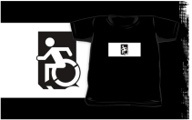 Accessible Means of Egress Icon Exit Sign Wheelchair Wheelie Running Man Symbol by Lee Wilson PWD Disability Emergency Evacuation Kids T-shirts 161