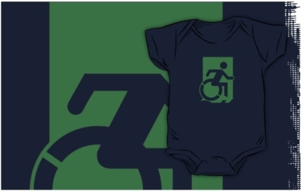 Accessible Means of Egress Icon Exit Sign Wheelchair Wheelie Running Man Symbol by Lee Wilson PWD Disability Emergency Evacuation Kids T-shirts 165