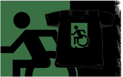 Accessible Means of Egress Icon Exit Sign Wheelchair Wheelie Running Man Symbol by Lee Wilson PWD Disability Emergency Evacuation Kids T-shirts 169