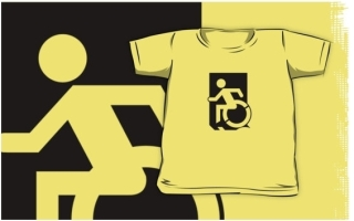 Accessible Means of Egress Icon Exit Sign Wheelchair Wheelie Running Man Symbol by Lee Wilson PWD Disability Emergency Evacuation Kids T-shirts 17