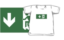 Accessible Means of Egress Icon Exit Sign Wheelchair Wheelie Running Man Symbol by Lee Wilson PWD Disability Emergency Evacuation Kids T-shirts 18