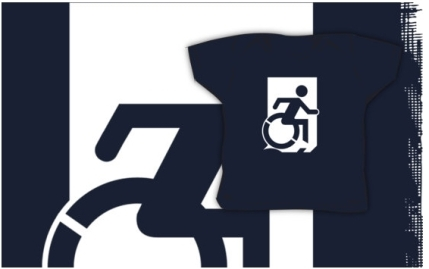 Accessible Means of Egress Icon Exit Sign Wheelchair Wheelie Running Man Symbol by Lee Wilson PWD Disability Emergency Evacuation Kids T-shirts 19