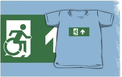 Accessible Means of Egress Icon Exit Sign Wheelchair Wheelie Running Man Symbol by Lee Wilson PWD Disability Emergency Evacuation Kids T-shirts 2