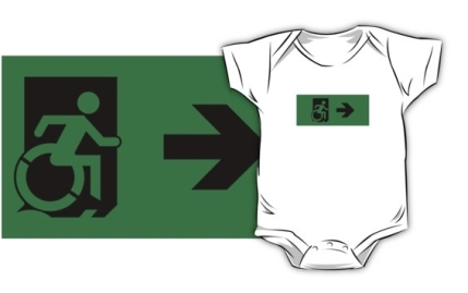 Accessible Means of Egress Icon Exit Sign Wheelchair Wheelie Running Man Symbol by Lee Wilson PWD Disability Emergency Evacuation Kids T-shirts 20