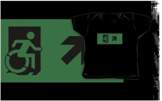 Accessible Means of Egress Icon Exit Sign Wheelchair Wheelie Running Man Symbol by Lee Wilson PWD Disability Emergency Evacuation Kids T-shirts 21