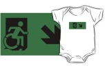 Accessible Means of Egress Icon Exit Sign Wheelchair Wheelie Running Man Symbol by Lee Wilson PWD Disability Emergency Evacuation Kids T-shirts 22