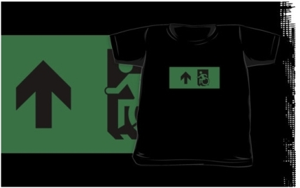 Accessible Means of Egress Icon Exit Sign Wheelchair Wheelie Running Man Symbol by Lee Wilson PWD Disability Emergency Evacuation Kids T-shirts 24