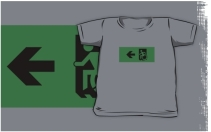 Accessible Means of Egress Icon Exit Sign Wheelchair Wheelie Running Man Symbol by Lee Wilson PWD Disability Emergency Evacuation Kids T-shirts 25