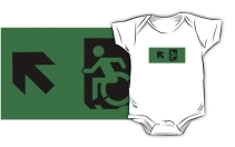 Accessible Means of Egress Icon Exit Sign Wheelchair Wheelie Running Man Symbol by Lee Wilson PWD Disability Emergency Evacuation Kids T-shirts 26