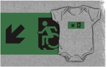 Accessible Means of Egress Icon Exit Sign Wheelchair Wheelie Running Man Symbol by Lee Wilson PWD Disability Emergency Evacuation Kids T-shirts 27
