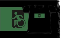 Accessible Means of Egress Icon Exit Sign Wheelchair Wheelie Running Man Symbol by Lee Wilson PWD Disability Emergency Evacuation Kids T-shirts 29