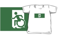 Accessible Means of Egress Icon Exit Sign Wheelchair Wheelie Running Man Symbol by Lee Wilson PWD Disability Emergency Evacuation Kids T-shirts 30