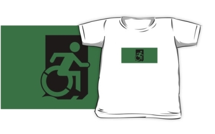 Accessible Means of Egress Icon Exit Sign Wheelchair Wheelie Running Man Symbol by Lee Wilson PWD Disability Emergency Evacuation Kids T-shirts 32