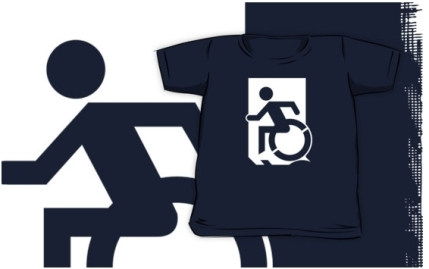 Accessible Means of Egress Icon Exit Sign Wheelchair Wheelie Running Man Symbol by Lee Wilson PWD Disability Emergency Evacuation Kids T-shirts 34