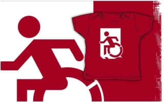 Accessible Means of Egress Icon Exit Sign Wheelchair Wheelie Running Man Symbol by Lee Wilson PWD Disability Emergency Evacuation Kids T-shirts 38