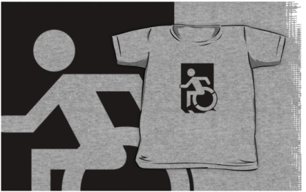 Accessible Means of Egress Icon Exit Sign Wheelchair Wheelie Running Man Symbol by Lee Wilson PWD Disability Emergency Evacuation Kids T-shirts 4