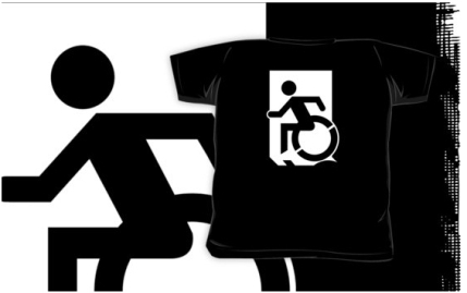 Accessible Means of Egress Icon Exit Sign Wheelchair Wheelie Running Man Symbol by Lee Wilson PWD Disability Emergency Evacuation Kids T-shirts 40