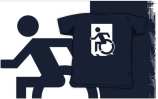 Accessible Means of Egress Icon Exit Sign Wheelchair Wheelie Running Man Symbol by Lee Wilson PWD Disability Emergency Evacuation Kids T-shirts 42