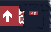 Accessible Means of Egress Icon Exit Sign Wheelchair Wheelie Running Man Symbol by Lee Wilson PWD Disability Emergency Evacuation Kids T-shirts 43