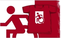 Accessible Means of Egress Icon Exit Sign Wheelchair Wheelie Running Man Symbol by Lee Wilson PWD Disability Emergency Evacuation Kids T-shirts 44