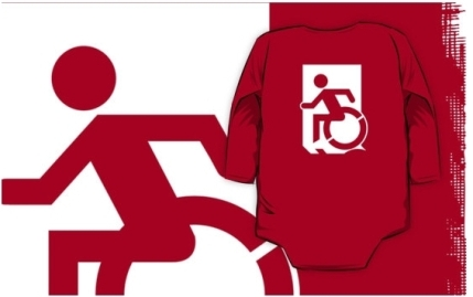 Accessible Means of Egress Icon Exit Sign Wheelchair Wheelie Running Man Symbol by Lee Wilson PWD Disability Emergency Evacuation Kids T-shirts 46