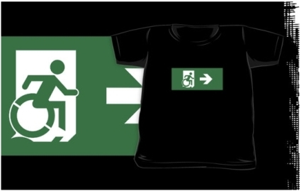 Accessible Means of Egress Icon Exit Sign Wheelchair Wheelie Running Man Symbol by Lee Wilson PWD Disability Emergency Evacuation Kids T-shirts 47