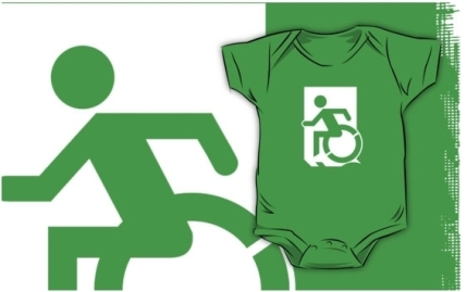 Accessible Means of Egress Icon Exit Sign Wheelchair Wheelie Running Man Symbol by Lee Wilson PWD Disability Emergency Evacuation Kids T-shirts 48