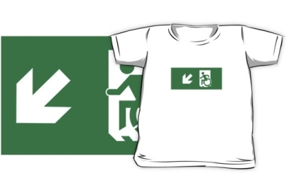 Accessible Means of Egress Icon Exit Sign Wheelchair Wheelie Running Man Symbol by Lee Wilson PWD Disability Emergency Evacuation Kids T-shirts 5