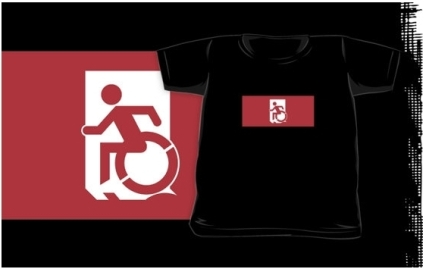 Accessible Means of Egress Icon Exit Sign Wheelchair Wheelie Running Man Symbol by Lee Wilson PWD Disability Emergency Evacuation Kids T-shirts 55