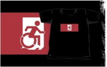 Accessible Means of Egress Icon Exit Sign Wheelchair Wheelie Running Man Symbol by Lee Wilson PWD Disability Emergency Evacuation Kids T-shirts 57