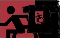 Accessible Means of Egress Icon Exit Sign Wheelchair Wheelie Running Man Symbol by Lee Wilson PWD Disability Emergency Evacuation Kids T-shirts 58