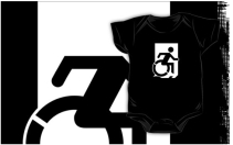 Accessible Means of Egress Icon Exit Sign Wheelchair Wheelie Running Man Symbol by Lee Wilson PWD Disability Emergency Evacuation Kids T-shirts 6