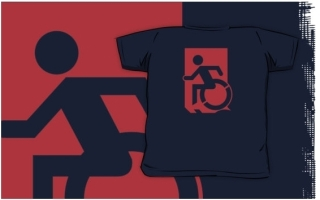 Accessible Means of Egress Icon Exit Sign Wheelchair Wheelie Running Man Symbol by Lee Wilson PWD Disability Emergency Evacuation Kids T-shirts 60