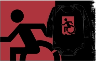 Accessible Means of Egress Icon Exit Sign Wheelchair Wheelie Running Man Symbol by Lee Wilson PWD Disability Emergency Evacuation Kids T-shirts 62