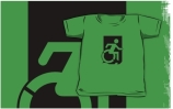 Accessible Means of Egress Icon Exit Sign Wheelchair Wheelie Running Man Symbol by Lee Wilson PWD Disability Emergency Evacuation Kids T-shirts 66