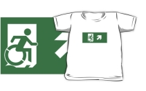 Accessible Means of Egress Icon Exit Sign Wheelchair Wheelie Running Man Symbol by Lee Wilson PWD Disability Emergency Evacuation Kids T-shirts 67