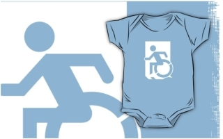 Accessible Means of Egress Icon Exit Sign Wheelchair Wheelie Running Man Symbol by Lee Wilson PWD Disability Emergency Evacuation Kids T-shirts 68