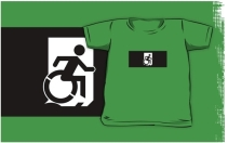 Accessible Means of Egress Icon Exit Sign Wheelchair Wheelie Running Man Symbol by Lee Wilson PWD Disability Emergency Evacuation Kids T-shirts 69