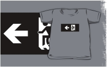 Accessible Means of Egress Icon Exit Sign Wheelchair Wheelie Running Man Symbol by Lee Wilson PWD Disability Emergency Evacuation Kids T-shirts 71