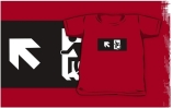 Accessible Means of Egress Icon Exit Sign Wheelchair Wheelie Running Man Symbol by Lee Wilson PWD Disability Emergency Evacuation Kids T-shirts 72