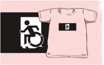 Accessible Means of Egress Icon Exit Sign Wheelchair Wheelie Running Man Symbol by Lee Wilson PWD Disability Emergency Evacuation Kids T-shirts 74