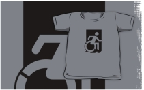 Accessible Means of Egress Icon Exit Sign Wheelchair Wheelie Running Man Symbol by Lee Wilson PWD Disability Emergency Evacuation Kids T-shirts 79